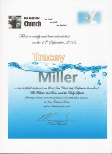 Tracey Baptism